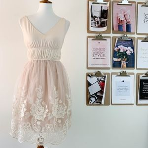 Pinky Tulle Dress Embroidered Small V-neck Blush